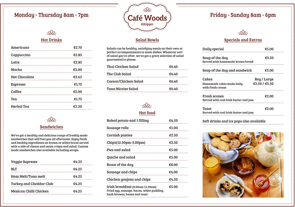 Our Cafe Woods Menu